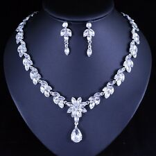 Floral Clear Austrian Rhinestone Necklace Earring Set Bridal Prom Pageant N67