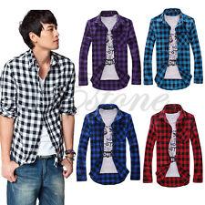 Men Fashion Classic Stylish Plaid Check Slim Casual Long Sleeve Shirt New