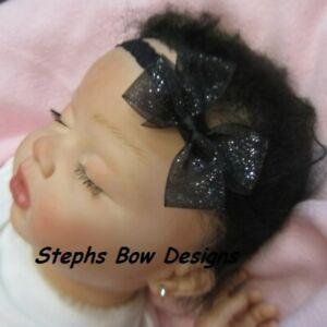 Black Sheer Glitter Dainty Hair Bow Headband 4 Preemie Newborn Baby Toddler Cute