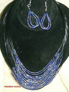 27/2 NEW PURPLE SILVERTONE STRAND FASHION NECKLACE+EARRINGS - IDEAL GIFT
