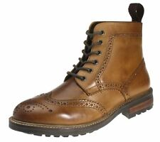 Red Tape Devlin Tan Brown Brogue Lace Up Mens Burnished Brogue Boots
