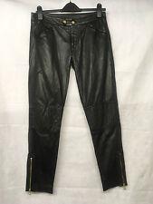 Muubaa London Woman's Black Leather Zip Leg Trousers. Size UK 10. RRP £299.