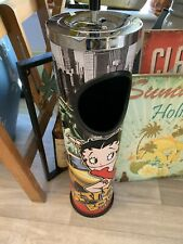 BETTY BOOP Tall Spinning Push Down Metal Ashtray Rare To Find