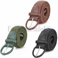 Unisex Mens Woven Stretch Braided Elastic Leather Buckle Belt Waistband Belts