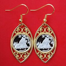 Gorgeous 1 Gram .999 Fine Pure Silver Panda Coin Round Gold Plated Earrings NEW