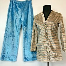 Vintage 1970s Blue Shiny All Velour size S Cardigan Top and Pants Set Striped P3