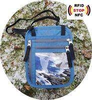 everest1953 Pumori  Brustbeutel Brusttasche mit RFID blocker blau