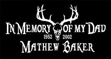 In Memory Of my Dad Decals euro deer skull personalized two vinyl car stickers