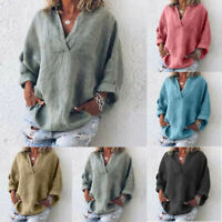 Casual Women Pure Size Solid Long Sleeve Casual Linen VNeck Blouse T-Shirt