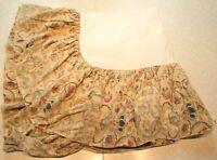 Ralph Lauren Provence King Bedskirt Dust Ruffle Floral Scroll Beige Cotton Linen