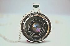 Glass Dome Cabochon Pendant NECKLACE Chain Gothic Steampunk Camera Lens Design A