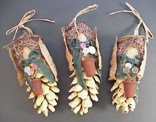 Pine Cone Garden Angels 3 Ct Lot Christmas Ornament Rustic Button Flowers Mossy