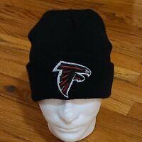 ATLANTA FALCONS NFL VINTAGE BLACK KNIT RETRO CUFFED REEBOK BEANIE CAP HAT EUC
