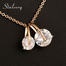 Lovely Round Crystal Cherry Pendant Necklace Chain For Women Girls 18K Rose Gold