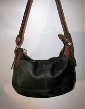 Vtg FOSSIL Black Pebbled Leather Shoulder Hobo Handbag zb2562 Brown Woven Handle