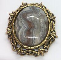 Vintage Fashion Costume Brooch Pin Pendant Agate Stone Jasper Gold Tone