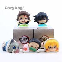 5 pcs Demon Slayer Kimetsu no Yaiba Tanjiro Kamado Nezuko Cute Mini Figures Toys