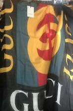 Gucci Scarf TWO 14OX  Black/Red/Yellow GG Modal/Silk Shawl 140x140 cm, Italy