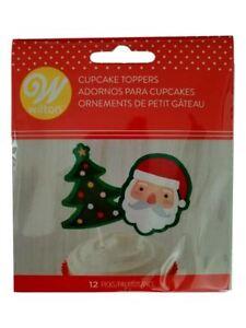 Santa Christmas Tree Wilton Cupcake Topper Dessert Picks 12 ct