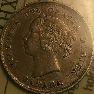 1885 CANADA SILVER 5 CENTS COIN - Small 5 ICCS VF-30