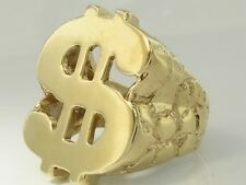 MR08- Heavy Genuine 9K 9ct SOLID Gold Mens HUGE $$$ Dollar Nugget Ring size T