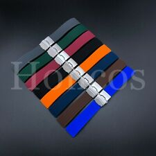 18-24 MM Color Silicone Rubber Watch Band Strap Deployment Clasp Fits Luminox