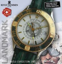 REVUE THOMMEN, LANDMARK, MANASLU EXPEDITION, SUN COMPASS 24H, LEATHER BAND, NOS