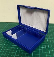 Blue Microscope slide storage case box 25 capacity hinged lid durable PP