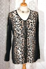 GERRY WEBER Long Shirt  38 40 42 schwarz braun LEO PRINT Leder - Imitat