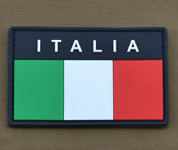 "PVC / Rubber Patch ""Italian / Italia Flag"" with VELCRO® brand hook"