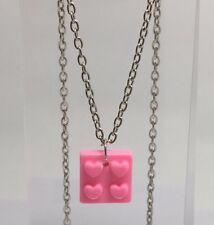 Heart Block Piece Pendant F135 Kitsch 18in Long Pastel Kawaii Pink Barbie