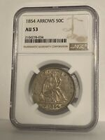 1854 Seated Half Dollar AU-53 NGC SCARCE COIN!! GREAT GRADE!