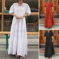 Womens Summer Short Sleeve Tiered Layered Patchwork Casual Flare Long Maxi Dress