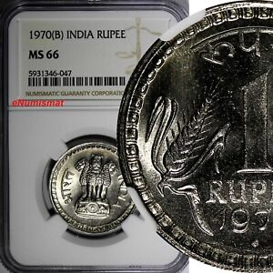 India-Republic 1970 (B) Rupee NGC MS66 Mumbai Mint TOP GRADED ! KM# 75.2 (047)