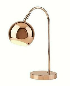 Rose Gold Copper Arch Table Lamp Adjustable Dome Light Shade H40cm RRP £28
