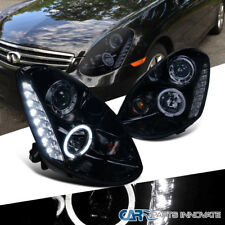 Glossy Black For 05-06 Infiniti G35 4Dr Smoke Lens SMD LED Projector Headlights