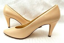 "CARESSA WOMEN'S POINTED TOE SHINY PEACH LEATHER CLASSIC PUMPS (3½"") HEELS SZ 7 ½"
