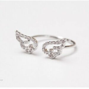New Adjustable Angel Wings Crystal CZ Silver Rings Womens Wedding Ring Jewellery
