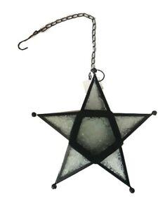 Moroccan Hanging Tea light Holder Clear Star Lantern