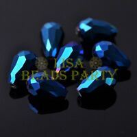 New 20pcs 16X10mm Faceted Teardrop Crystal Glass Spacer Loose Beads Metal Blue