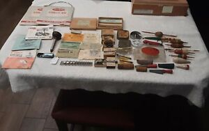 Big lot of Vintage fishing items floats hooks old fishing license see pictures