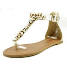 Calzado de mujer sandalias con tiras planos de color principal oro