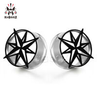 Stainless The Compass Ear Gauges and Ear Tunnels Body Piercing Ear Plugs 2pcs