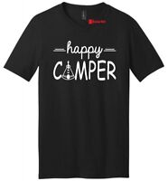Happy Camper Mens V-Neck Shirt Cute Camping Hiking Girlfriend Boyfriend Gift Tee