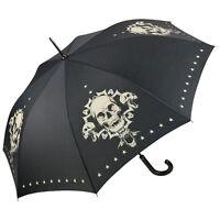 Regenschirm Schädel Totenkopf schwarz Damen Herren UV-Schutz Punk Skull 5820A