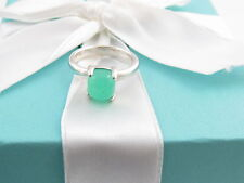 NEW TIFFANY & CO SILVER CHRYSOPRASE PICASSO RING BAND SIZE 5 BOX POUCH INCLUDED