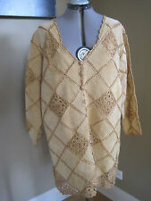 NWT Camel Color CROCHET n SUEDE LEATHER COAT by CBO  NEW YORK Size 1X
