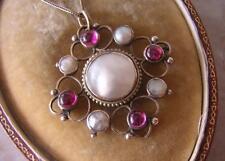 Bell 'antico Periodo edoardiano Arts & Crafts GOLD RUBY & PEARL Pendente Collana in oro e