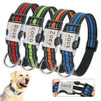 Reflective Personalized Dog Collars Nylon ID Name Engraved Collars Bulldogs S-L