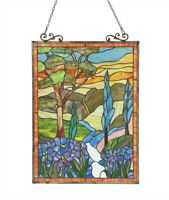 """24"""" x 18"""" Tiffany Style Stained Glass Floral Nature Window Panel"""